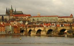 Prague. View of prague from charles bridge on vltava river Royalty Free Stock Photo
