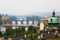 Prague. View of the Vltava River and bridges in a morning fog Stock Images