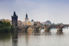 Prague. View of the Vltava River and bridges in a morning fog Royalty Free Stock Images