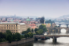 Prague. View of the Vltava River and bridges in a morning fog Royalty Free Stock Photography