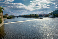 Prague. A view of the Vltava River to the Charles Bridge in Prague Royalty Free Stock Photo