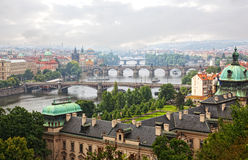 Prague. View of the Vltava River and bridges in a morning fog Royalty Free Stock Photos