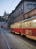 Prague. Tramway on the center of Prague Stock Photography