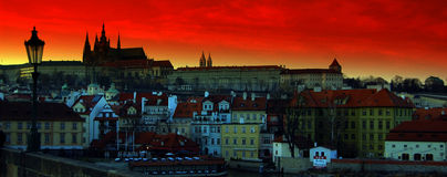 Prague. City of czech republic at night-abstract Royalty Free Stock Photo