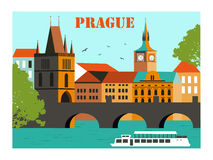 Prague vektor illustrationer