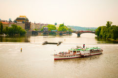 Prague above River Vltava Stock Photography