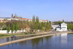 Prague above River Vltava with  gothic Castle Royalty Free Stock Images