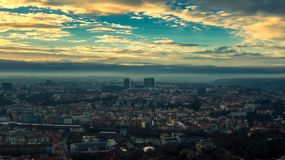 Prague aerial view light rays royalty free stock photos