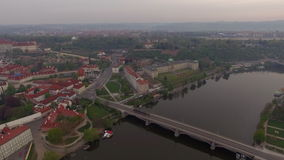 Prague aerial view with Manes Bridge stock video footage