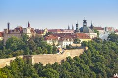 Prague, aerial view of Old Town roofs Stock Photos