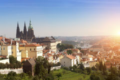 Prague, aerial view of Old Town roofs in the old city of Prague Royalty Free Stock Photo