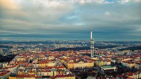 Prague aerial view of tv tower stock image