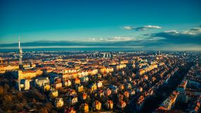 Prague Aerial view tv tower summer light royalty free stock image