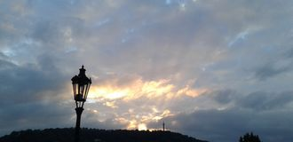 Prague afton Arkivfoto