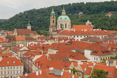 Prague aireal view over the red roofs Stock Image