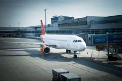 Prague airport and airliner Royalty Free Stock Photography