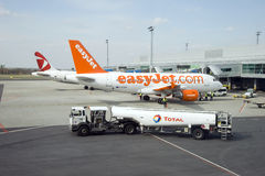 Prague airport. Easy Jet Royalty Free Stock Image