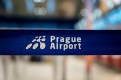 Prague airport sign at Prague Vaclav Havel Airport formerly known as Ruzyne. royalty free stock photography