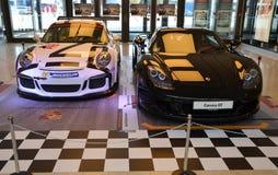 PRAGUE - APRIL 14: Porsche Carrera GT and Porsche 911 991 GT3 Stock Photo