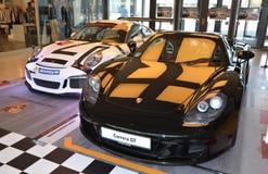 PRAGUE - APRIL 14: Porsche Carrera GT and Porsche 911 991 GT3 Royalty Free Stock Photos