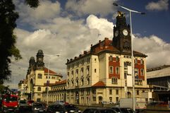 Prague architecture. Prague railway station view  (Czech Republic Stock Photography