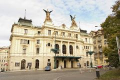 Prague Architecture. Vinohrady Namesti miru Vinohrady Theatre in Czech Republic Prague, Neo Renaissance fa�ade and entrance.  In late October Stock Images