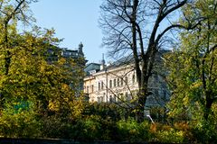 Prague architecture behind the trees royalty free stock images