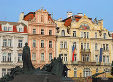 Prague. The architecture of the buildings on the square in the Old Place. Stock Images
