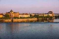 Prague architecture, river view, Czech Republic Stock Photo