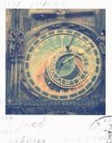Prague astronomical clock. Vintage polaroid picture of prague astronomical clock Royalty Free Stock Image