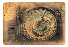 Prague astronomical clock. On postcard Stock Images
