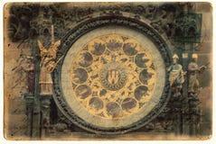 Prague astronomical clock. On postcard stock photography