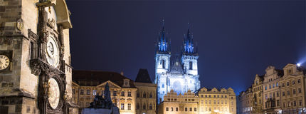 Prague Astronomical Clock and Church of Our Lady before Tyn, night, Czech Republic Royalty Free Stock Photos