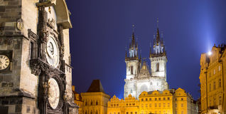 Prague Astronomical Clock and Church of Our Lady before Tyn, night, Czech Republic Stock Photos