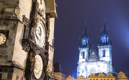 Prague Astronomical Clock and Church of Our Lady before Tyn, night, Czech Republic Stock Images