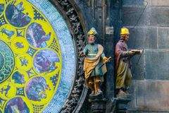 Prague astronomical clock, close up. Czech gothic architecture,. Famous medieval astrological clock Royalty Free Stock Images
