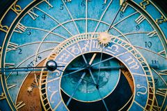 Prague astronomical clock, close up. Czech gothic architecture,. Famous medieval astrological clock Royalty Free Stock Photography