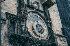 Prague astronomical clock. Close up Stock Image