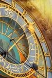 Prague Astronomical Clock closeup. Prague Astronomical Clock (Orloj) in Old Town of Prague closeup. Toned Royalty Free Stock Photos
