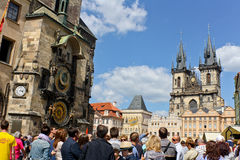 Prague Astronomical Clock. A crowd of tourists gathers in front of the Astronomical Clock in Prague. Located in the Old Town Hall in the Old Town Square in Stock Images