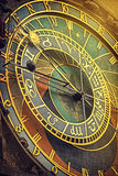 Prague Astronomical Clock Detail Retro Toned Stock Photography