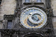 Prague astronomical clock. The famous medieval landmark of Prague, the Prague astronomical clock on an autumn day Royalty Free Stock Photography