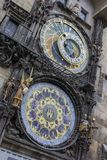 Prague astronomical clock. The famous medieval landmark of Prague, the Prague astronomical clock on an autumn day Stock Photography