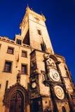 The Prague Astronomical Clock. At Prague in night Stock Photos
