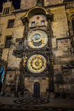 Prague astronomical clock at night Royalty Free Stock Photography
