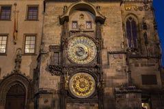 Prague Astronomical Clock at Night Stock Photos
