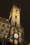Prague astronomical clock at night Royalty Free Stock Photo