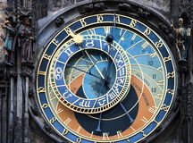 Prague astronomical clock at the Old Town City. Hall from 1410 is the third oldest astronomical clock in the world Stock Image
