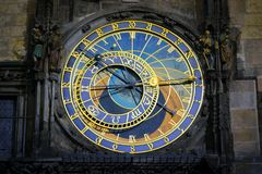 Prague Astronomical Clock in the Old Town. Of closeup Stock Images