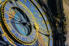Prague Astronomical Clock in the Old Town. Of closeup Royalty Free Stock Image